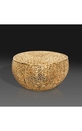 """Round """"Cory"""" coffee table in steel and gold metal 80 cm"""
