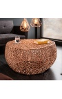 """Round """"Cory"""" coffee table in steel and copper colored metal 80 cm"""