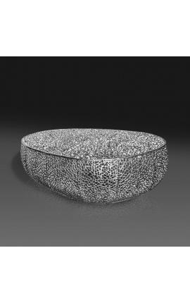 """Grande table basse ovale """"Cory"""" en acier et métal argenté 120 cm"""