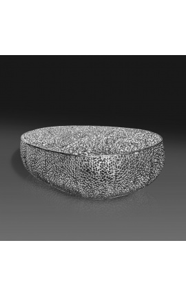 """Large oval """"Cory"""" coffee table in steel and silver colored metal 120 cm"""
