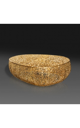 """Большой овальный журнальный столик """"Cory"""" из стали и металла цвета золота 120 см"""