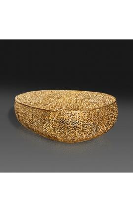 """Grande table basse ovale """"Cory"""" en acier et métal doré 120 cm"""