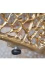 """Large oval """"Cory"""" coffee table in steel and gold colored metal 120 cm"""
