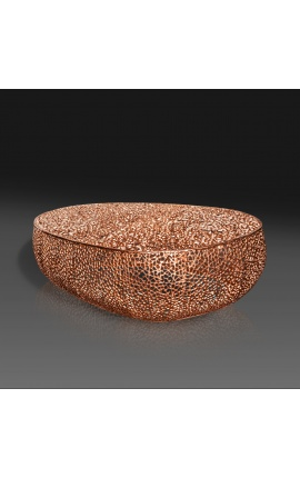 """Grande table basse ovale """"Cory"""" en acier et métal cuivré 120 cm"""