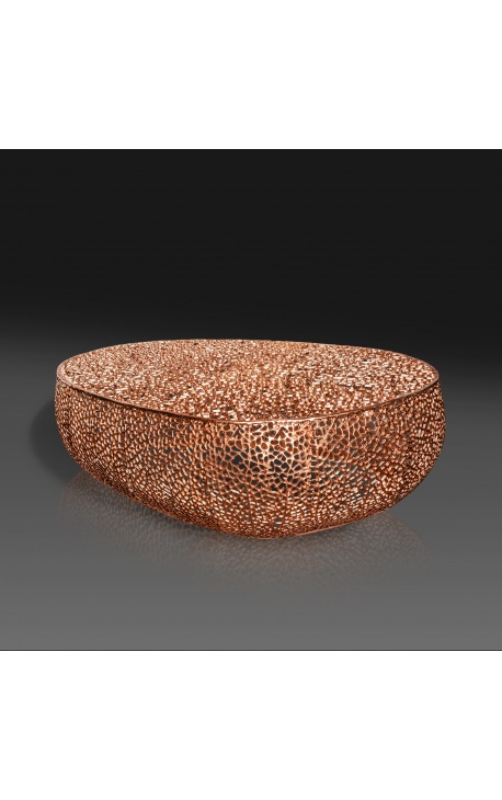 """Large oval """"Cory"""" coffee table in steel and copper colored metal 120 cm"""