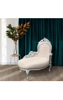 Baroque chaise longue beige leatherette with silver wood