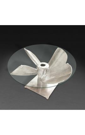 """Table basse ronde """"Helix"""" en aluminium et acier couleur argenté avec plateau en verre"""
