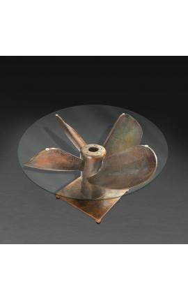 """Table basse ronde """"Helix"""" en aluminium et acier couleur cuivré avec plateau en verre"""