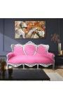 Canapé baroque tissu velours rose et bois argenté