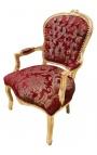 """Fauteuil baroque de style Louis XV satiné rouge aux motifs """"Gobelins"""" et bois doré"""