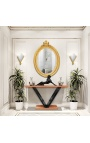 Art Deco style console in beech veneer and black lacquered stand