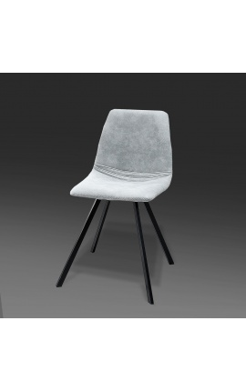 """Set of 4 """"Nalia"""" design dining chairs in gray suede fabric with black legs"""