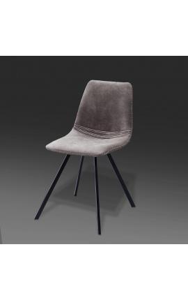 """Ensemble de 4 chaises de repas """"Nalia"""" design en tissu suédé taupe avec pieds noirs"""