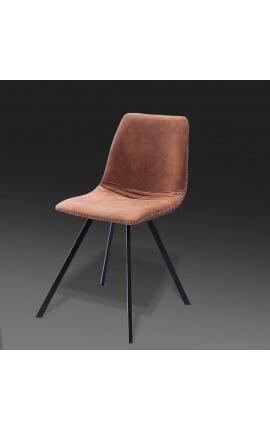"""Ensemble de 4 chaises de repas """"Nalia"""" design en tissu suédé chocolat avec pieds noirs"""