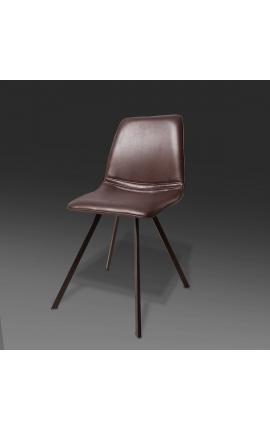 """Ensemble de 4 chaises de repas """"Nalia"""" design simili cuir marron avec pieds noirs"""