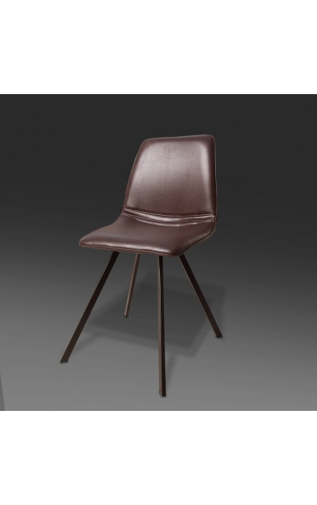 """Set of 4 """"Nalia"""" design dining chairs in brown leatherette with black legs"""