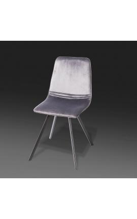 """Ensemble de 4 chaises de repas """"Nalia"""" design en velours gris foncé avec pieds noirs"""