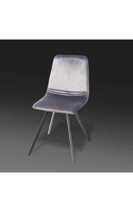 "Set of 4 ""Nalia"" design dining chairs in dark grey velvet with black legs"