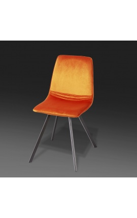 "Set of 4 ""Nalia"" design dining chairs in orange velvet with black legs"