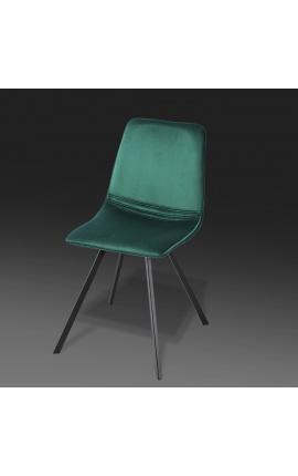 "Set of 4 ""Nalia"" design dining chairs in green velvet with black legs"