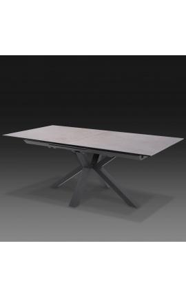 """Table de repas """"Oceanis"""" acier noir et plateau en céramique gris béton 180-225"""