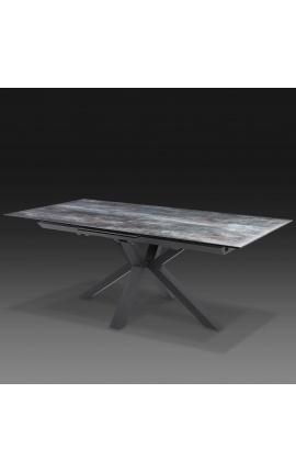 """Обеденный стол """"Oceanis"""" из черной стали и керамической столешницы под лаву 180-225"""