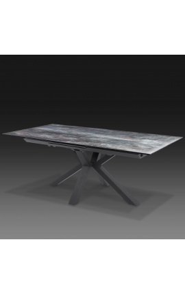 """Table de repas """"Oceanis"""" acier noir et plateau en céramique aspect lave 180-225"""
