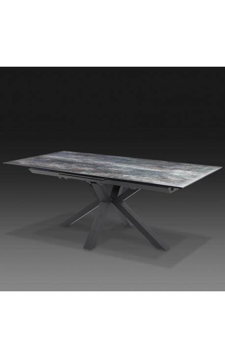 """Oceanis"" dining table in black steel and lava look ceramic top 180-225"