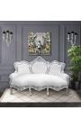 Canapé baroque tissu simili cuir blanc et bois argent