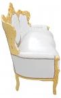 Canapé baroque tissu simili cuir blanc et bois doré