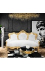 Baroque sofa false skin leather white and gold wood