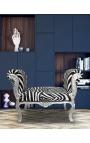 Барокко место стиля Louis XV ткань зебра и серебро дерево