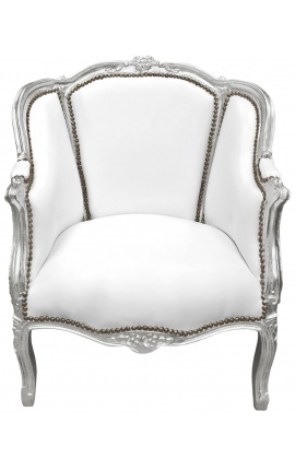 Large bergere armchair Louis XV style white leatherette and silver wood