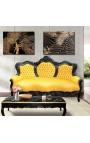 Canapé baroque tissu simili cuir jaune et bois laqué noir