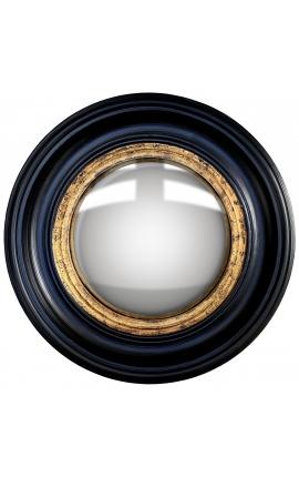 """Miroir rond convexe dit """"miroir de sorcière"""" avec cadre noir et doré"""