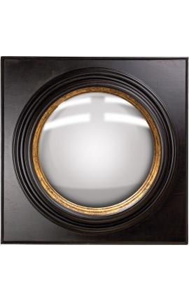 """Grand miroir carré convexe dit """"miroir de sorcière"""" avec cadre noir et doré"""