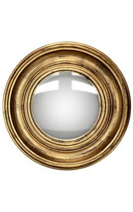 """Miroir rond convexe dit """"miroir de sorcière"""" avec cadre doré patiné"""