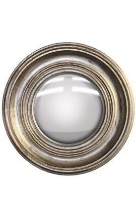 """Miroir rond convexe dit """"miroir de sorcière"""" avec cadre argenté patiné"""