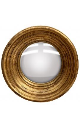 """Grand miroir rond convexe dit """"miroir de sorcière"""" avec cadre doré patiné"""