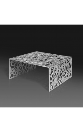 """Square coffee table """"Absy"""" in steel and silver metal 60 cm"""