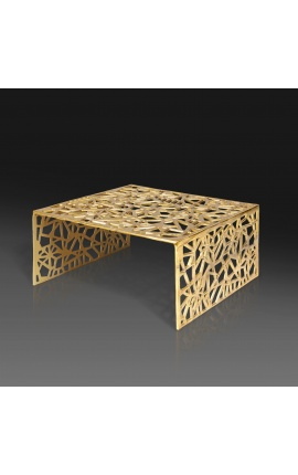 """Square coffee table """"Absy"""" in steel and gold metal 60 cm"""