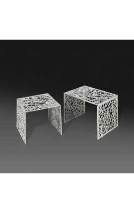 """Set of 2 """"Absy"""" square side tables in steel and silver metal"""