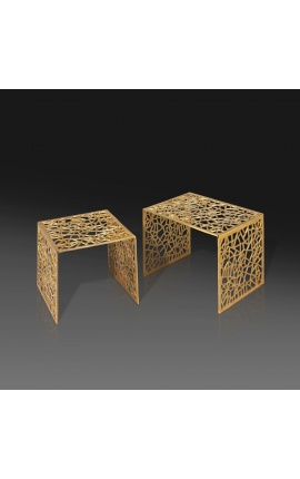 """Set of 2 """"Absy"""" square side tables in steel and gold metal"""