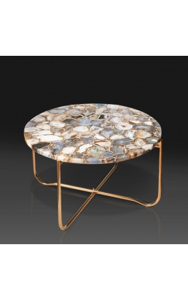 """Round coffee table """"Lucy"""" with agate and onyx top with gilded metal stand"""
