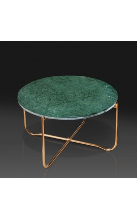 """Round coffee table """"Lucy"""" green marble top with gold stand"""