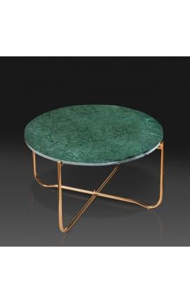 """Table basse ronde """"Lucy"""" plateau en marbre vert avec pied en métal doré"""