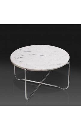 """Round coffee table """"Lucy"""" white marble top with silver stand"""