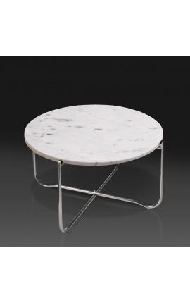 """Table basse ronde """"Lucy"""" plateau en marbre blanc avec pied en métal argenté"""
