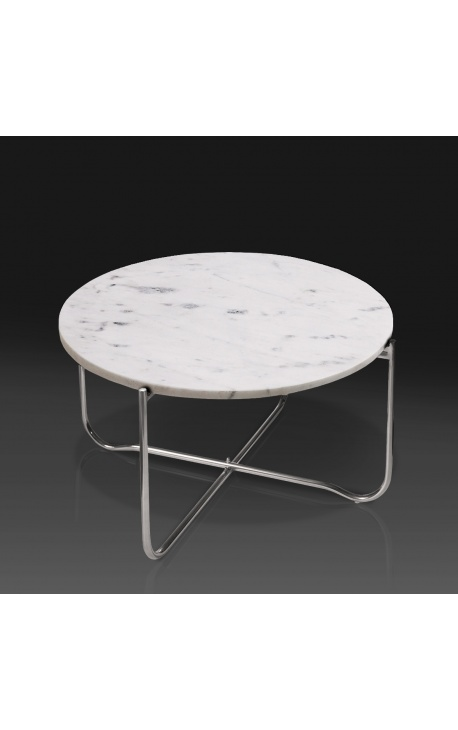 Round Coffee Table Lucy White Marble, Rubik Round Coffee Table