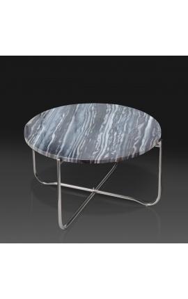 """Table basse ronde """"Lucy"""" plateau en marbre gris avec pied en métal argenté"""